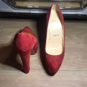Christian Louboutin red suede platform